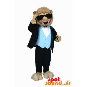 Lejonmaskot klädd i mycket elegant kostym - Spotsound maskot