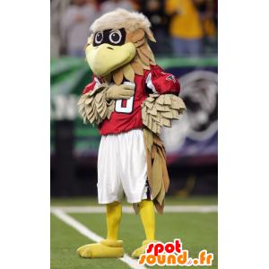 Maskotti ruskean ja beigen lintu punainen mekko - MASFR20669 - maskotti lintuja
