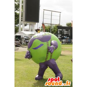 Big ball mascot, green and purple - MASFR20670 - Sports mascot