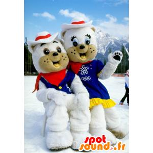 2 polární medvěd maskoti oblečený v kovboje - MASFR20678 - Bear Mascot