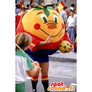 Orange mascot giant tangerine in sportswear