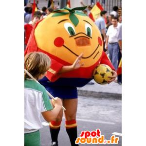 Orange Maskottchen Riesen Mandarine in der Sportkleidung