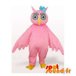 Różowy sowa maskotka. Kostium sowy - MASFR006424 - ptaki Mascot