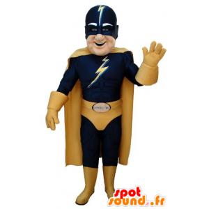 Mascote super-herói no equipamento azul e amarelo