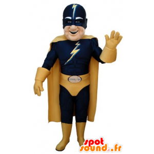 Superheld mascotte in blauw en geel outfit