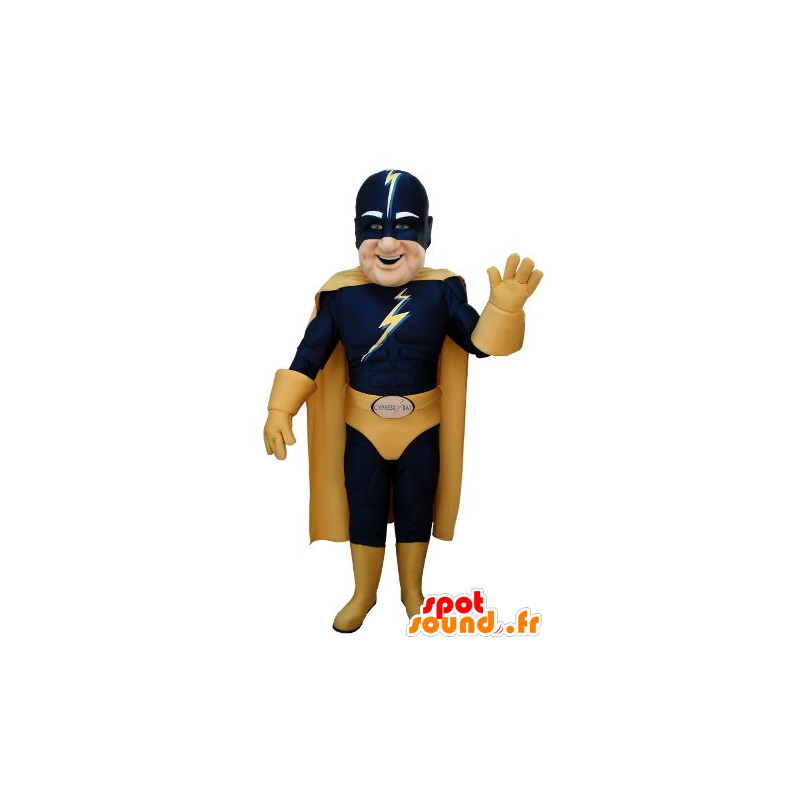 Mascotte de super-héros en tenue bleue et jaune - MASFR20691 - Mascotte de super-héros