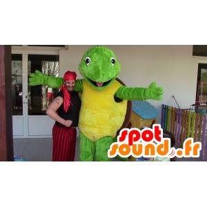Μασκότ πράσινη χελώνα, κίτρινο και καφέ - μασκότ Franklin