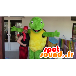 Grüne Schildkröte Maskottchen, gelb und braun - Mascot Franklin - MASFR20693 - Maskottchen-Schildkröte