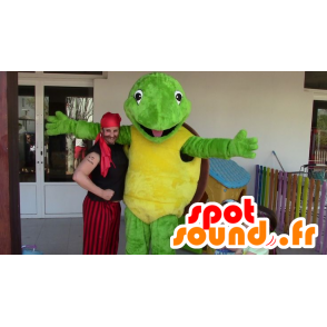 Mascot groene schildpad, geel en bruin - Mascot Franklin - MASFR20693 - Turtle Mascottes