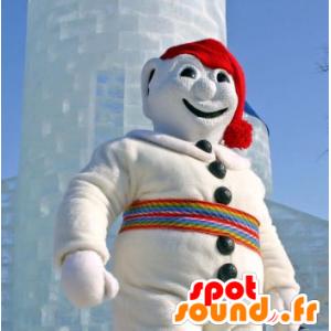Mascotte de bonhomme de neige, tout blanc