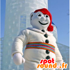 Pupazzo di neve della mascotte, tutto bianco