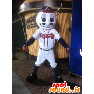 Mascotte de balle de baseball en tenue de sport