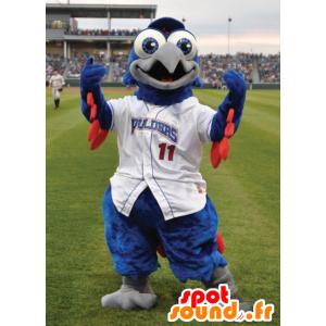 Mascot blå og rød fugl, hvit drakt - MASFR20701 - Mascot fugler