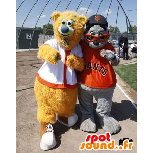 2 mascotas: beige oso y gris lobo marino - MASFR20714 - Oso mascota