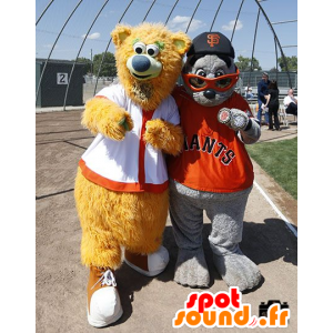 2 maskotteja: karhu beige ja harmaa merileijona - MASFR20714 - Bear Mascot