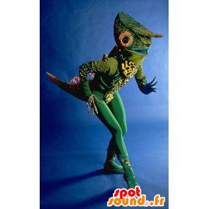 Mascot vihreä kameleontti, hyvin omaperäinen