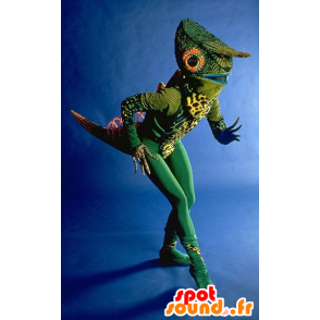 Green chameleon mascot, very original - MASFR20719 - Animals of the forest