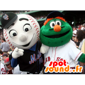 2 pets: a green monster and a baseball - MASFR20723 - Monsters mascots