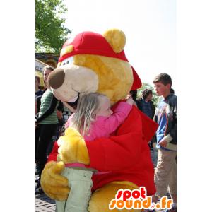 Tukku Mascot keltainen ja punainen karhu hattu - MASFR20727 - Bear Mascot