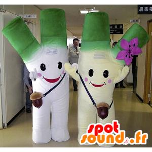 2 Maskottchen Riesen Lauch, grün und weiß - MASFR20730 - Maskottchen von Gemüse