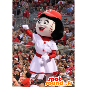 Jente maskot med en baseball-formet hodet