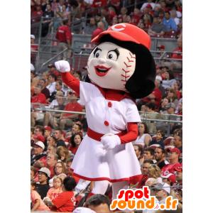 Ragazza mascotte con una testa a forma di palla da baseball