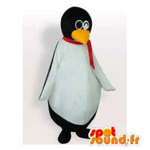 Mascot penguin with a scarf and glasses