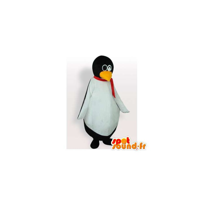 Mascot penguin with a scarf and glasses - MASFR006429 - Penguin mascots