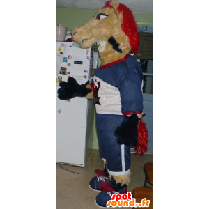 Horse mascot, beige and red mare