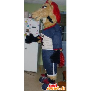 Kůň maskot, béžová a červená klisna