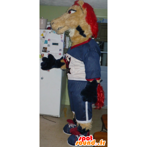 Horse mascot, beige and red mare - MASFR20758 - Mascots horse