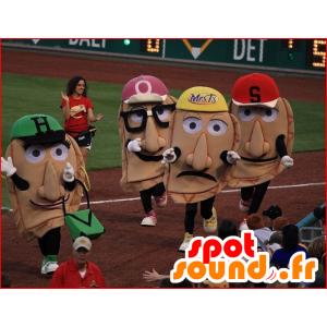 4 mascottes de têtes géantes avec des casquettes