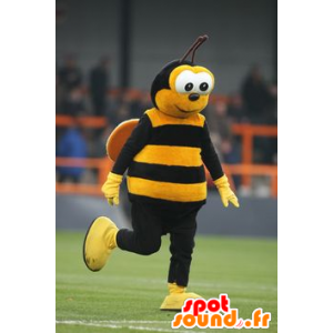 Yellow and black bee mascot