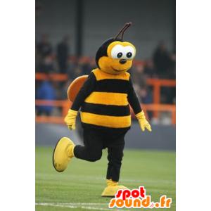 Yellow and black bee mascot