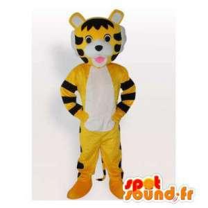 Mascot tigre amarillo y negro.Tiger traje