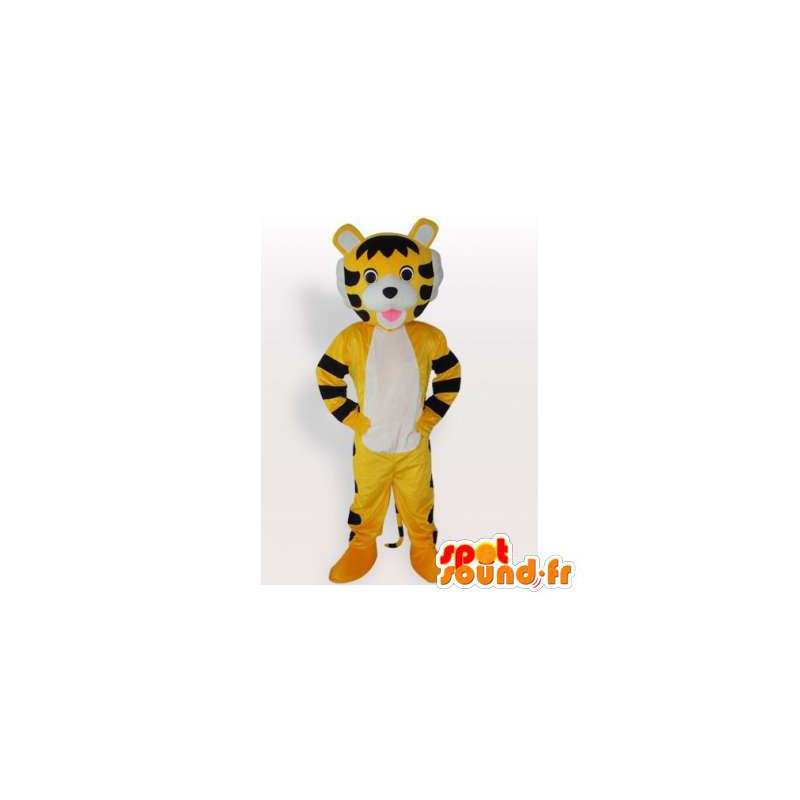 Mascotte de tigre jaune et noir. Costume de tigre - MASFR006430 - Mascottes Tigre