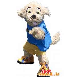 Mascotte de chien beige en tenue jaune et bleue - MASFR20783 - Mascottes de chien