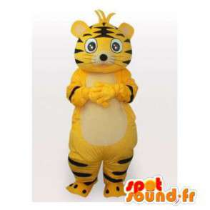 Mascotte de tigre jaune et noir. Costume de tigre - MASFR006431 - Mascottes Tigre