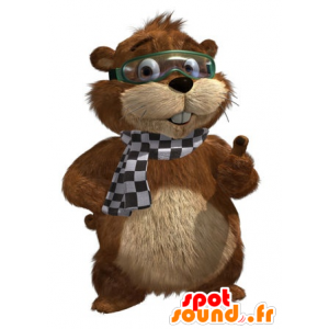 Mascot marmot brown and beige with a mask