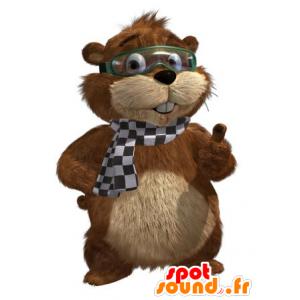 Mascotte marmotta marrone e beige con una maschera