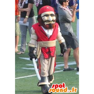 Mascotte de pirate, rouge et beige