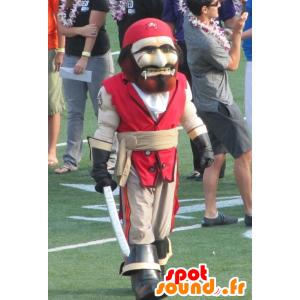 Piratmaskot, rød og beige - Spotsound maskot kostume