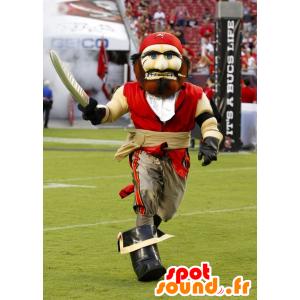 Pirate Mascot, punainen ja beige - MASFR20805 - Mascottes de Pirates