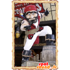 Pirate Mascot traditional red and white outfit - MASFR20816 - Mascottes de Pirate