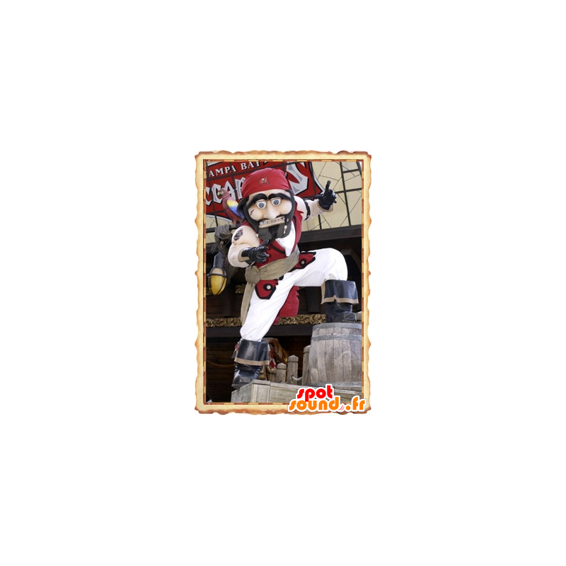 Pirate Mascot traditionele witte en rode outfit - MASFR20816 - mascottes Pirates
