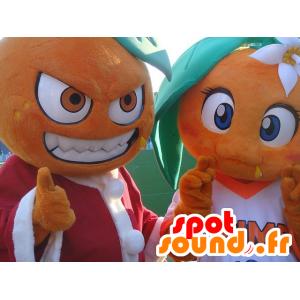 2 mascottes d'oranges géantes