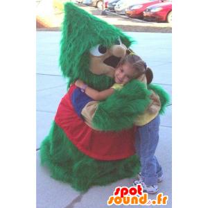 Mascote árvore de natal, verde e vermelho, todo peludo