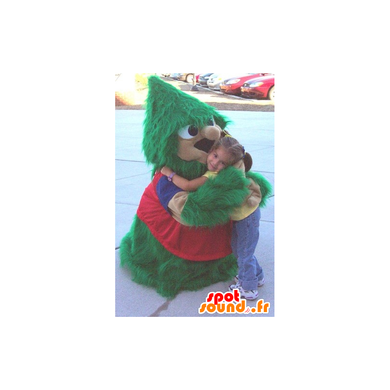 Christmas tree mascot, green and red, hairy all - MASFR20837 - Christmas mascots