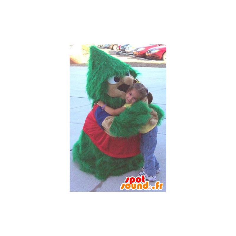 Juletræ maskot, grøn og rød, alle hårede - Spotsound maskot