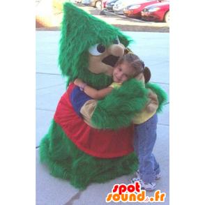 Mascote árvore de natal, verde e vermelho, todo peludo - MASFR20837 - Mascotes Natal